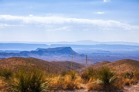 View from Sotol Vista, Big Bend National Park, USA. The Santa Elena canyon and the boarder with Mexico can be seen in the horizon.