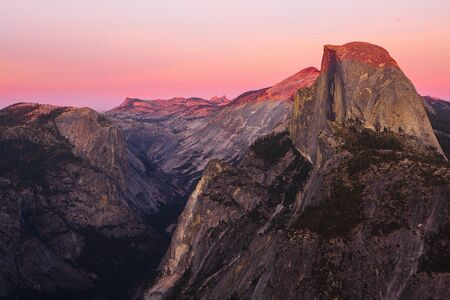 glacier point, yosemite national park, california, america during sunset Stock Photo