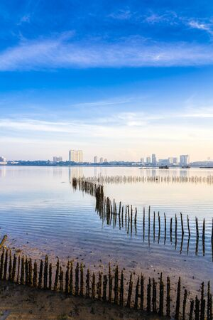 View of Johor Baru city, from Sungai Buloh Wetlands, Singapore in the morning