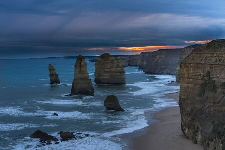 Twelve Apostles at Port Campbell National Park, Victoria, Australia, sunset Stock Photo