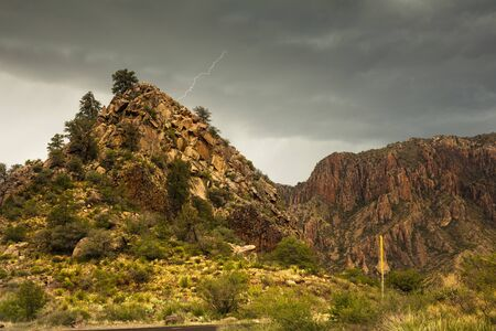 Liightning, near Chisos Mountains, Big Bend National Park, Texas, USA,