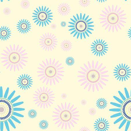 Flower seamless repeating vector pattern Çizim