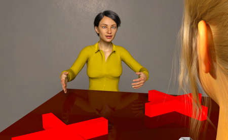 Social distancing in meetings. All the people in the image are computer generated by 3D rendering. No model releases are needed as they are fictitious.