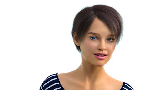 3D render entitled Portrait of a lady. Person in the image is computer generated by 3D rendering. No model release is needed as the person is fictitious. Stock Photo