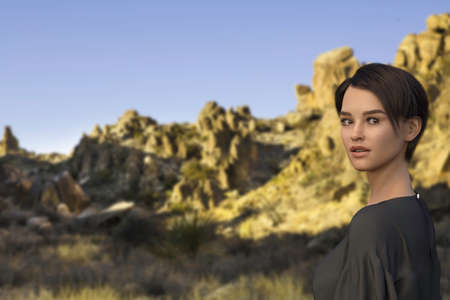 3D render entitled Welcome to Big Bend National Park. Person in the image is computer generated by 3D rendering. No model release is needed as the person is fictitious.