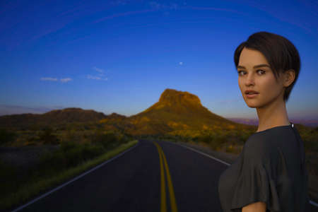 3D render entitled Road to Big Bend National Park. Person in the image is computer generated by 3D rendering. No model release is needed as the person is fictitious.