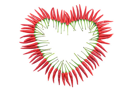Red hot chili pepper isolated, heart shapped