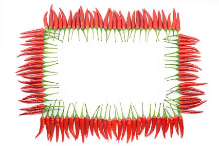 hot frame: Red hot chili pepper border frame isolated