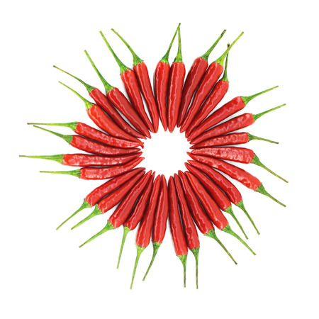Red hot chili pepper circle isolated on white background photo
