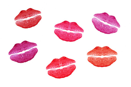 kissing lips: Six colorful kisses on white paper background