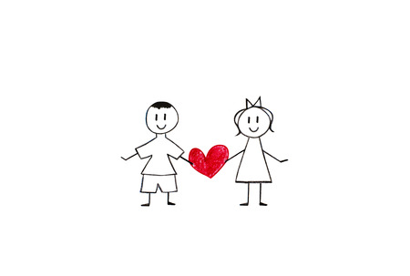 Boy and girl holding heart, pencil drawings on white paper shit photo