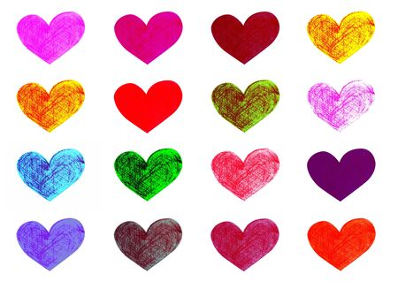 Colorful hearts set, handmade pencil drawings on white background photo