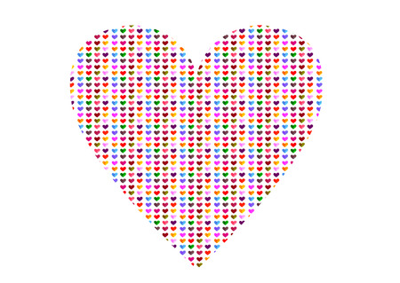 Colorful heart pattern heart shaped, handmade pencil drawings on white background photo