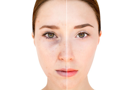 comparisons: Womans face before and after make up and digital editing Stock Photo
