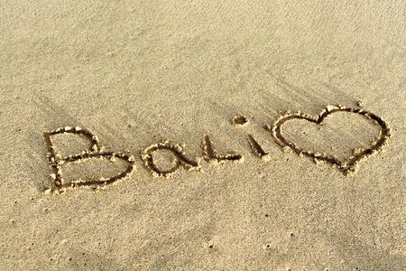 bali beach: Bali beach writing in sand and a heart Stock Photo