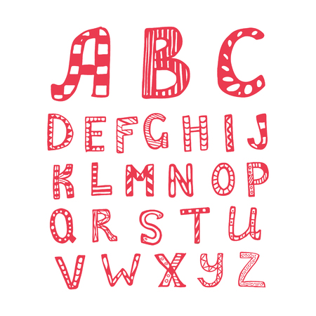 basic letters: Vector hand drawn ornamental capital letters. Alphabet. Illustration