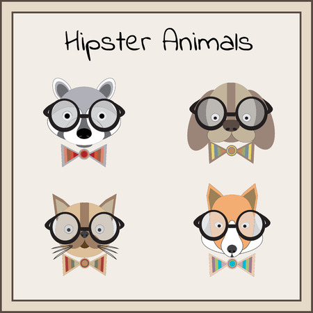 racoon: Hipster animals set vector: racoon, dog, cat, fox