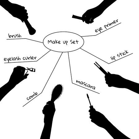 booster: Les mains avec de cosm�tiques professionnels pour le maquillage: brosse, amorce des yeux, mascara, rappel de la l�vre, peigne, cils curleur