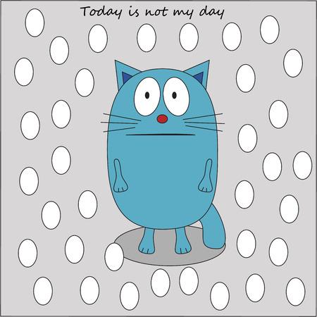 morose: Sad cat in the snow vector - flat icon