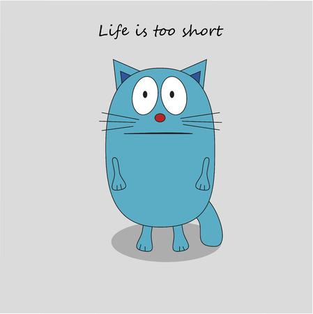 morose: Cute sad cat in flat design style. Vector Illustration