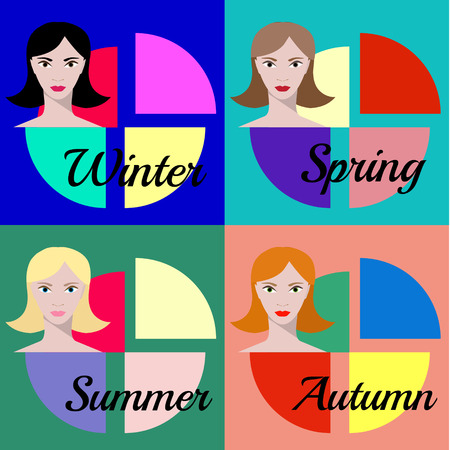 appearance: Color type of appearance vector - winter, spring, summer, autumn Illustration
