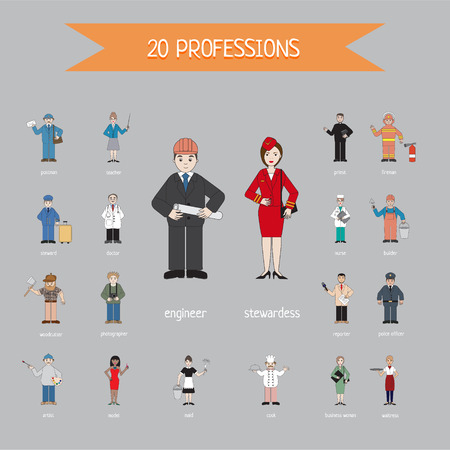 Profession of different people - vector. Cartoon different characters and different clothes. Flat style design. Vector