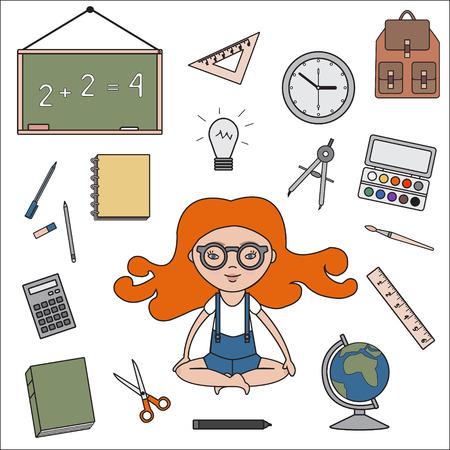 classroom supplies: Aula de objetos iconos contorno. �tiles escolares del vector. Volver a la ilustraci�n de la escuela. Vectores
