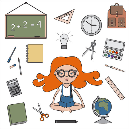 light classroom: Classroom objects outline icons. Vector school supplies. Back to school illustration.