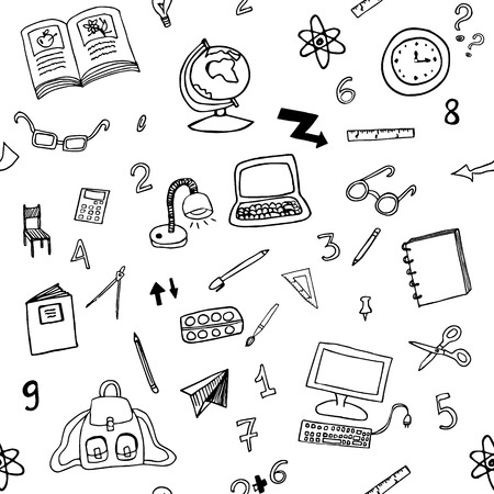 Doodle seamless pattern of classroom objects with numbers. Back to school icons.