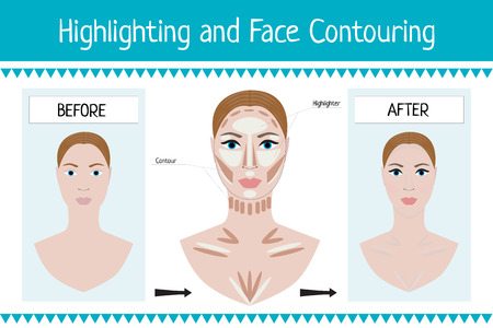 highlighting: Woman face before and after makeup - vector illustration. Cosmetic and beauty infographics. Highlighting and face contouring. Illustration
