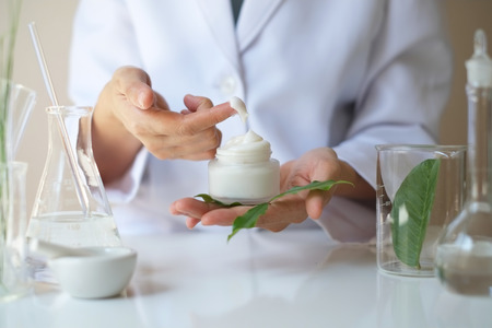 the scientist,dermatologist testing the organic natural product and alternative medicine.research and development beauty skincare.expert and professional prove.blank package,bottle,container . 写真素材