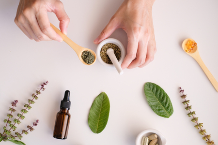 herbal organic medicine product. natural herb essential from nature. Stock Photo