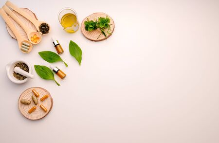 alternative herb medicine with herbal the organic natural in the laboratory. oil capsule, natural organic.food nutrition healthy and wellness. Stock Photo