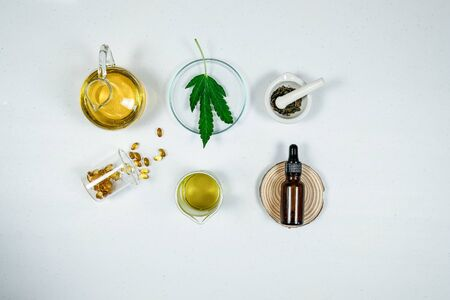 cbd thc oil medical treatment in doctor laboratory. natural medicine on clinical research . top view. 写真素材