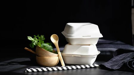 healthy fresh food vegetable by farmer market for online order ready to delivery with eco box and cup and biodegradable package.