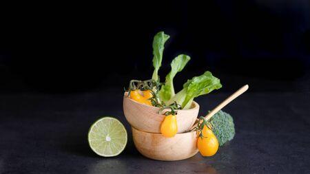 vegan and vegetarian diet healthy food. vegetable decorative on black background