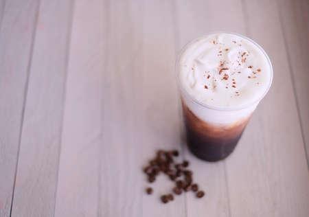 ice black coffee with the cream .flat lay. Zdjęcie Seryjne