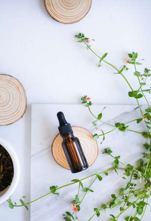 natural skincare on marble background with flower, leaf and pestle mortar . cosmetic beauty background. Zdjęcie Seryjne
