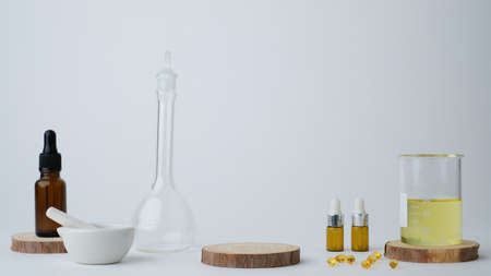 skincare with the laboratory glass and ingredient for research and development experiment.