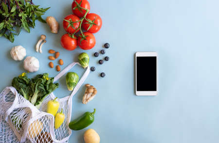 mobile phone for searching online app for recipe , nutrition, diet and grocery shopping.