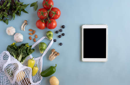 digital tablet for searching online app for recipe , nutrition, diet and grocery shopping.