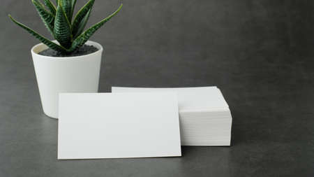 white business card mock up for marketing,branding and printing. Zdjęcie Seryjne - 154450327