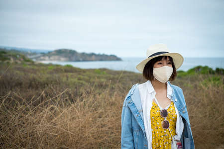 woman wearing mask in public place or outdoor.