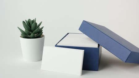 white business card mock up for marketing,branding and printing. Zdjęcie Seryjne - 154450621