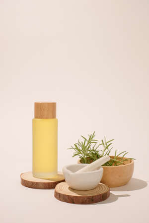 skin care and cosmetic product with natural herb, rosemary for health on white background.