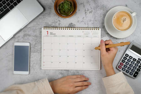 Planner and Calendar for2021. Online work plan at home.