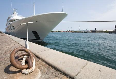 watercraft: Luxury yacht moored at Copenhagen harbour Stock Photo