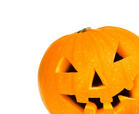Halloween pumpkin with path and copyspace against a white background Stock Photo - 4433670