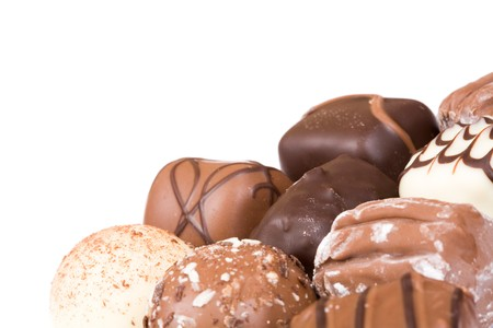 Chocolates isolated with white copy space photo