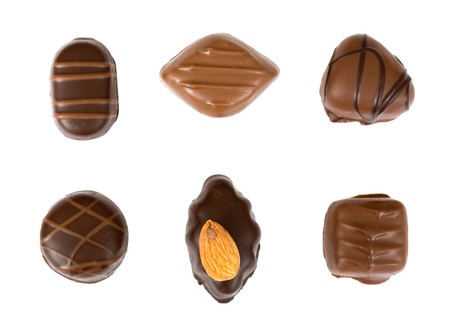 decadence: Individual chocolates isolated on a white background